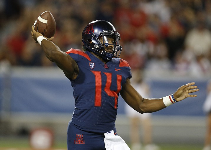 In this Sept. 15, 2018, file photo, Arizona quarterback Khalil Tate passes in the first half against Southern Utah in Tucson. The last time he faced Oregon State, Tate rushed for more than 200 yards and two touchdowns. When he sees the Beavers on Saturday, Sept. 22, 2018, he may have to rely more on his arm. (Rick Scuteri/AP, file)