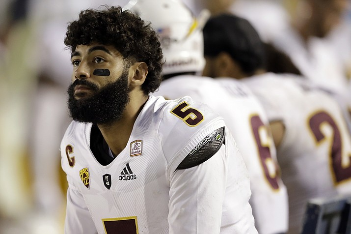 Arizona State quarterback Manny Wilkins looks on from the sidelines during the second half against San Diego State Saturday, Sept. 15, 2018, in San Diego. San Diego State won 28-21. (Gregory Bull/AP, file)
