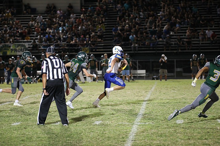 Prescott's Austin Clark (12) runs for a touchdown in the first half against Canyon Del Oro on Friday, Sept. 21, 2018, in Oro Valley. (Jim Clark/Courtesy)