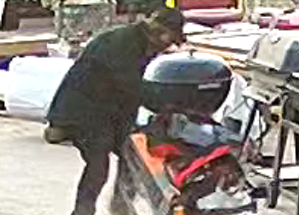 Screen image from video of burglar who stole power tools from Verde Valley Habitat for Humanity over the weekend. (Verde Valley Habitat for Humanity/Courtesy)