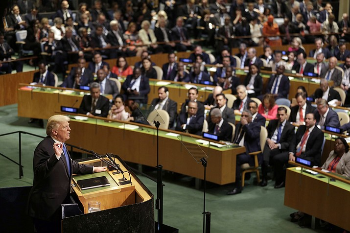 President Donald Trump speaks during the United Nations General Assembly at U.N. headquarters on Sept. 19, 2017. When Trump makes his second address to the United Nations and wields the Security Council gavel for the first time he will face leaders of a global order he upended in the last 12 months by pulling out of the Iran deal, embracing Russia and alienating longtime Western allies over trade and defense spending. (Seth Wenig/AP file)