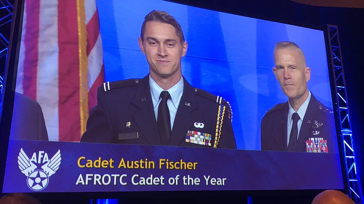 "Embry-Riddle Air Force ROTC Cadet Austin Fischer receives his ""Outstanding ROTC Cadet of the Year"" award Sept. 17 in Washington, D.C. (ERAU/Courtesy)"