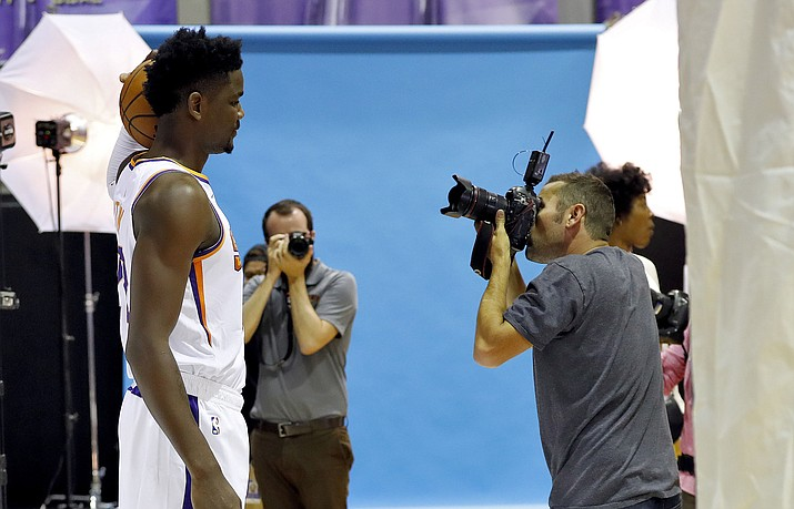 Phoenix Suns' Deandre Ayton poses for photographer Mark Rebilis during media day at the NBA basketball team's practice facility in Phoenix, Monday, Sept. 24, 2018. (Jack Dempsey/AP)