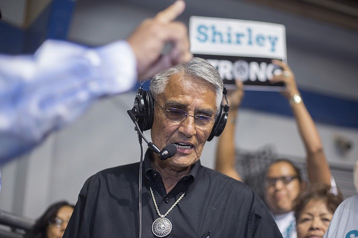 Navajo Nation presidential candidate Joe Shirley Jr. thanks his constituents at the sports center in Window Rock Aug. 28 during the primary election. (AP Photo/Cayla Nimmo)