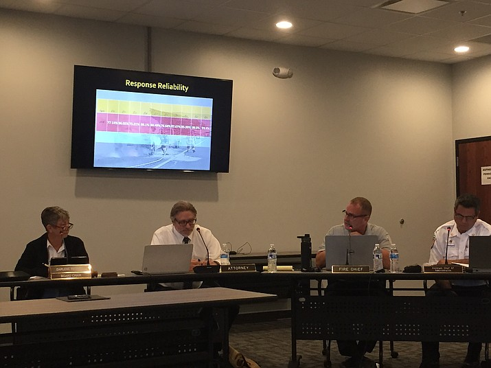 Central Arizona Fire and Medical Authority (CAFMA) staff and board members review the agency's response reliability and why it indicates a need for additional personnel during CAFMA fire board's regular monthly meeting Monday, Sept. 24. (Max Efrein/Courier)