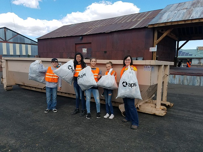 Volunteers from Williams Elementary-Middle School help out during the Community Clean-up day Sept. 22. (Submitted photo)