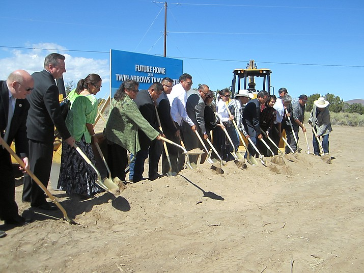 Navajo Nation President Russell Begaye and Twin Arrows officials break ground for a new travel center at Twin Arrows Resort and Casino Sept. 20. (Katherine Locke/NHO)