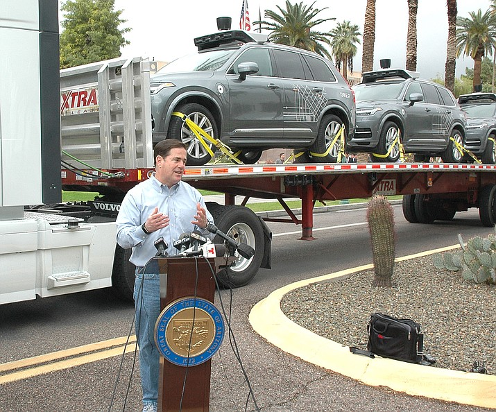 """""""David Garcia tried to rig an election and the Supreme Court caught him,'' the governor said – three times now. Ducey first made the claim in a pair of debates last week, arguing that the fact the Arizona Supreme Court blocked the Invest in Ed initiative from going on the November ballot is proof it was deliberately misleading. (Capitol Media Services file photo by Howard Fischer)"""