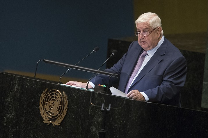 Syrian Deputy Prime Minister Walid al-Moallem addresses the 73rd session of the United Nations General Assembly, Saturday, Sept. 29, 2018 at U.N. headquarters. (Mary Altaffer/AP)