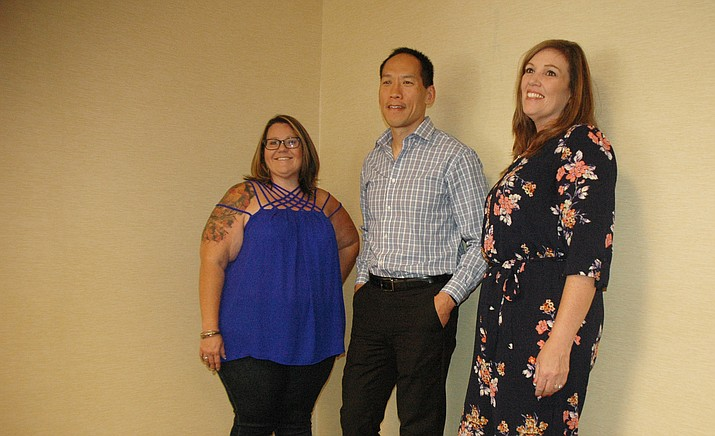 Laura Hughes-Stiverson, left, and Tisha Hill, right, meet with Dr. Daniel Fang after the women underwent gastric sleeve surgery. (Jason Wheeler/Courier)