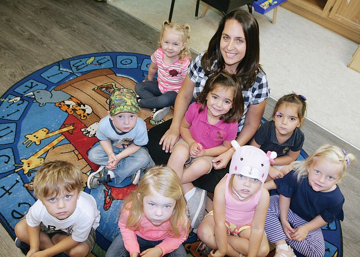"Brandi Phillips, an early childhood educator at Camp Verde United Christian School, has filled her preschool classroom with ""beautiful 3-year-old students,"" says Kathy Holden, the school's principal. ""We are blessed by them and blessed to have Brandi teaching them."" VVN/Bill Helm"