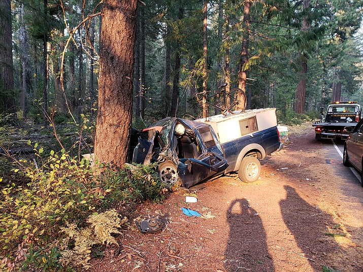 A blue 2001 Nissan pickup driven by Prescott resident Darrell Crittenden, 69, veered off a highway in Oregon and struck a tree Friday, Sept. 28. Crittenden died from his injuries in the accident.