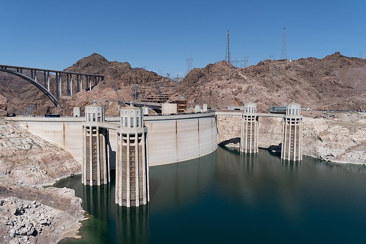 The Hoover Dam outside of Las Vegas on the Nevada/Arizona border and Lake Meade where officials are discussing a plan that would distribute less water to Arizona, Nevada and California in order to give the lake a boost. (Stock photo)