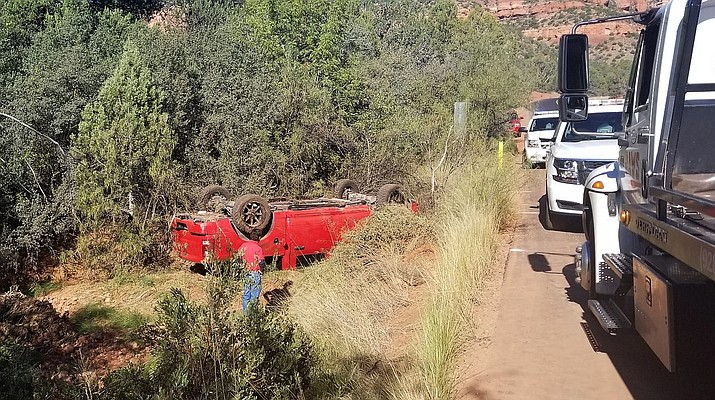 Authorities responded to the traffic collision Saturday on Boynton Canyon Road near Boynton Pass Road in Sedona, according to Dwight D'Evelyn, the media coordinator for the Yavapai County Sheriff's Office. Photo courtesy of Yavapai County Sheriff's Office
