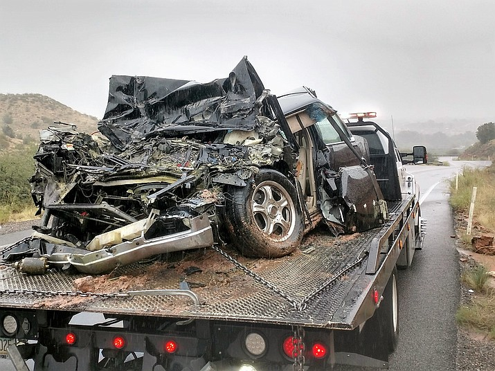 A head-on collison Wednesday morning on Cornville Road between a Cadillac and a semi-tractor trailer sent one man to the hospital. (YCSO/Courtesy)