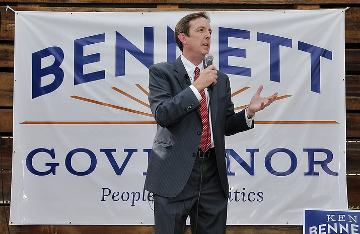 Ken Bennett announces his candidacy for governor Nov. 12, 2013, in downtown Phoenix in a bid to replace incumbent Republican Gov. Doug Ducey on the November ballot with a primary election upset. (Matt York/AP file)