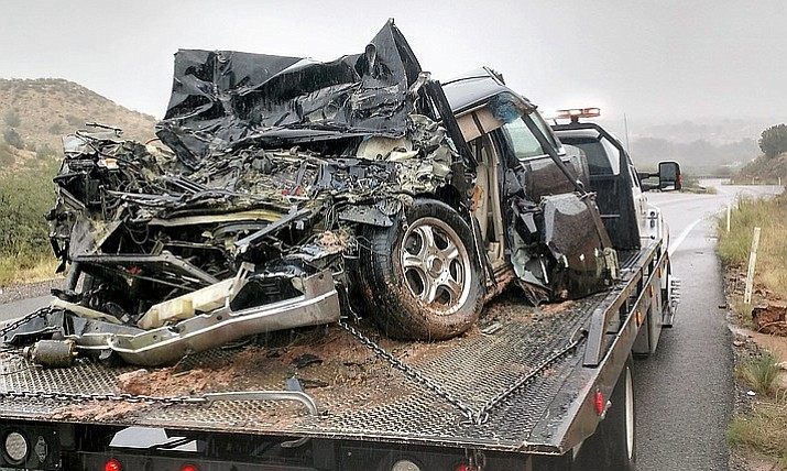 A head-on collison Tuesday morning on Cornville Road between a Cadillac and a semi-tractor trailer sent one man to the hospital. (YCSO/Courtesy)