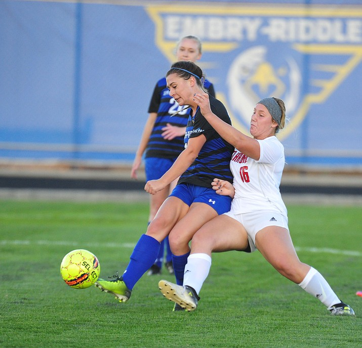 Embry Riddle's Riley Martinson battles towards the goal as the Eagles host Simpson in womens soccer Thursday, Oct. 4, 2018, in Prescott. (Les Stukenberg/Courier)