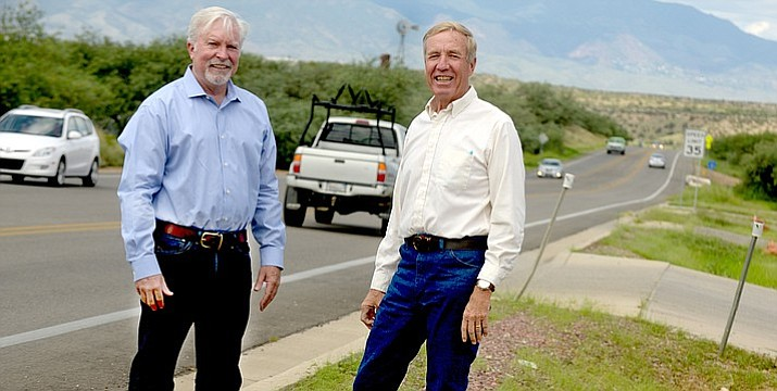Yavapai County Supervisors Randy Garrison, left and Thomas Thurman pose along Cornville Road. Yavapai County is studying a potential new roadway connecting Cornville Road to State Route 260. VVN/Vyto Starinskas