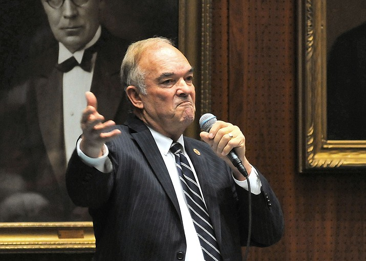 Then-Rep. Don Shooter, in January, defends himself on the House floor against charges of sexual harassment. (Capitol Media Services, file photo by Howard Fischer)