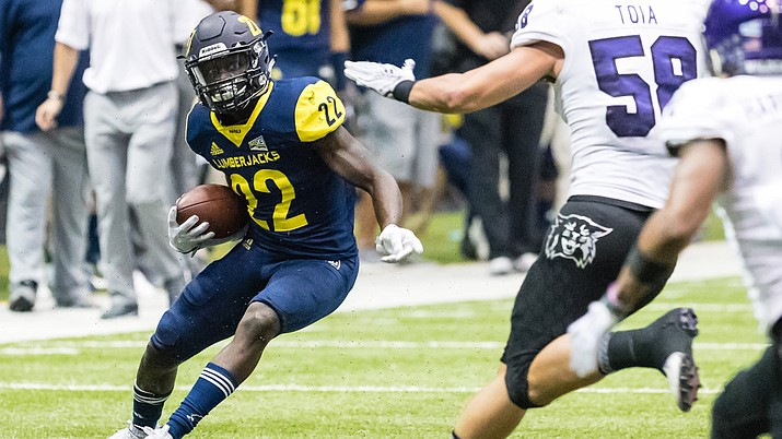 Joe Logan led Northern Arizona with 55 yards rushing as the Lumberjacks upset Weber State 28-24 for a Big Sky Conference win Saturday in Flagstaff. (NAU Athletics photo)