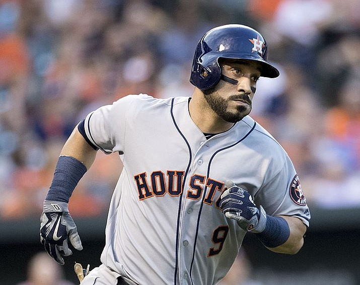 Marwin Gonzalez hit a go-ahead double as the Houston Astros beat Cleveland 3-1 Saturday and hold a 2-0 AL Division Series lead. (File photo by Keith Allison, cc-by-2.0, https://bit.ly/2BYPvYy)