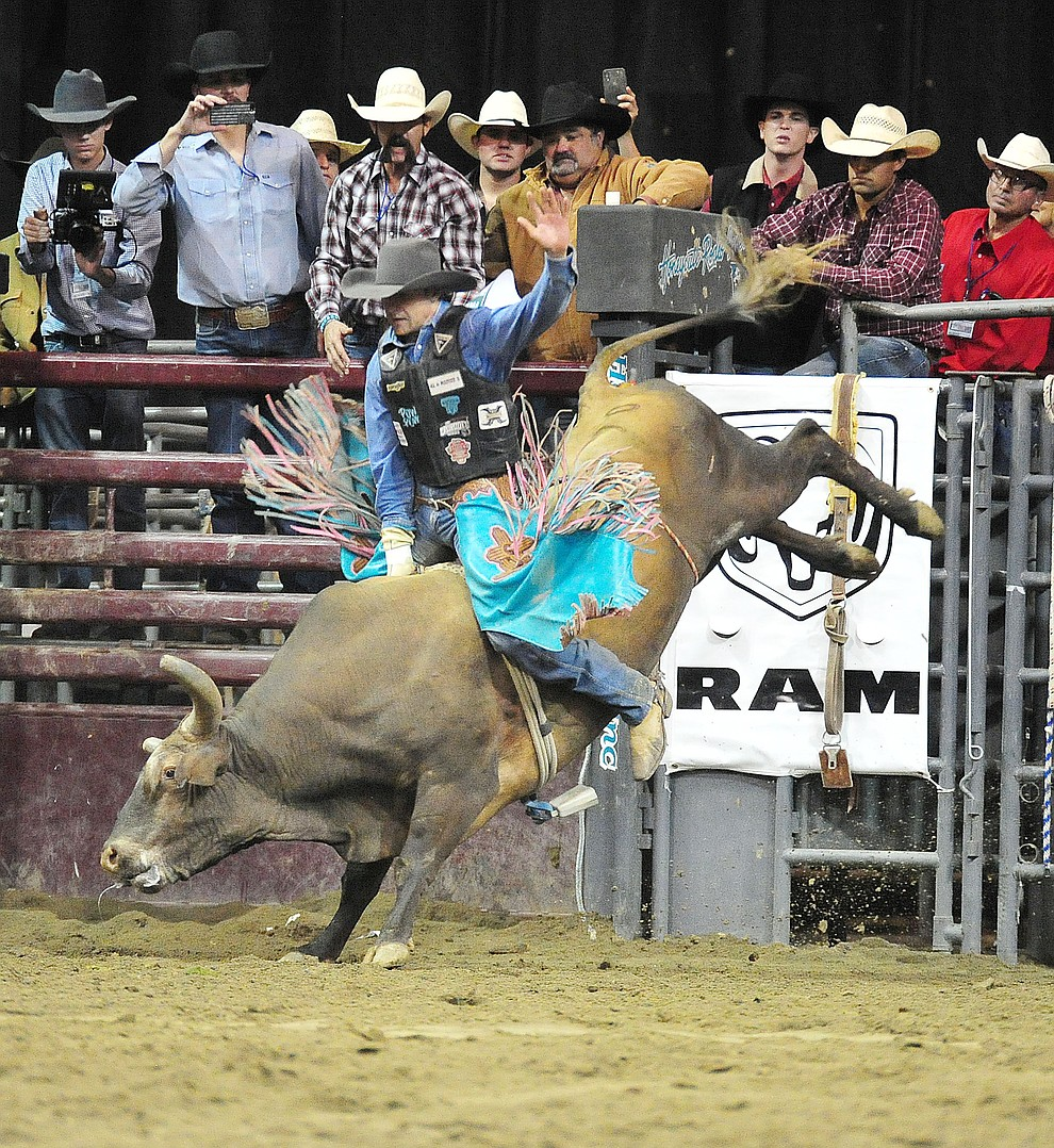 Lon Danley rides Pistols and Roses for an 81 and won the bull riding title at the Turquoise Circuit Final Rodeo Saturday, Oct. 6, 2018 at the Prescott Valley Event Center. (Les Stukenberg/Courier)