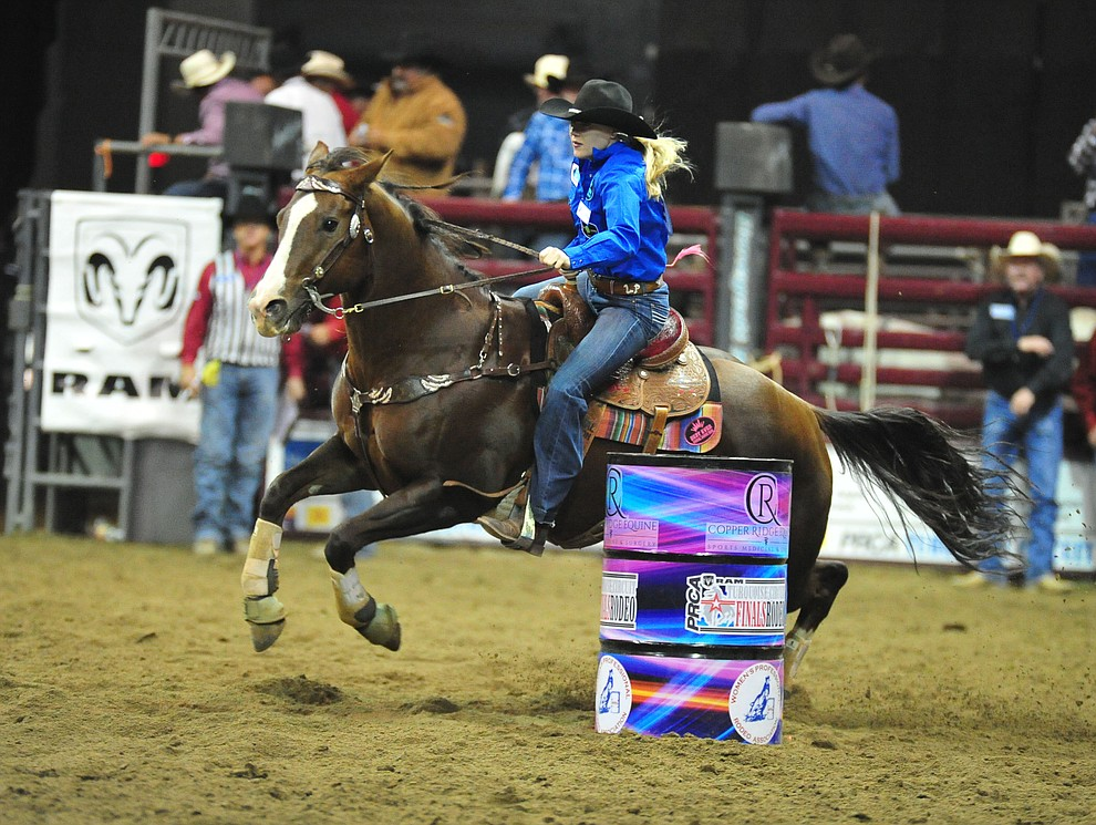 Leia Pluemer had a 15.34 in the barrel race at the Turquoise Circuit Finals Rodeo Saturday, Oct. 6, 2018 at the Prescott Valley Event Center. (Les Stukenberg/Courier)