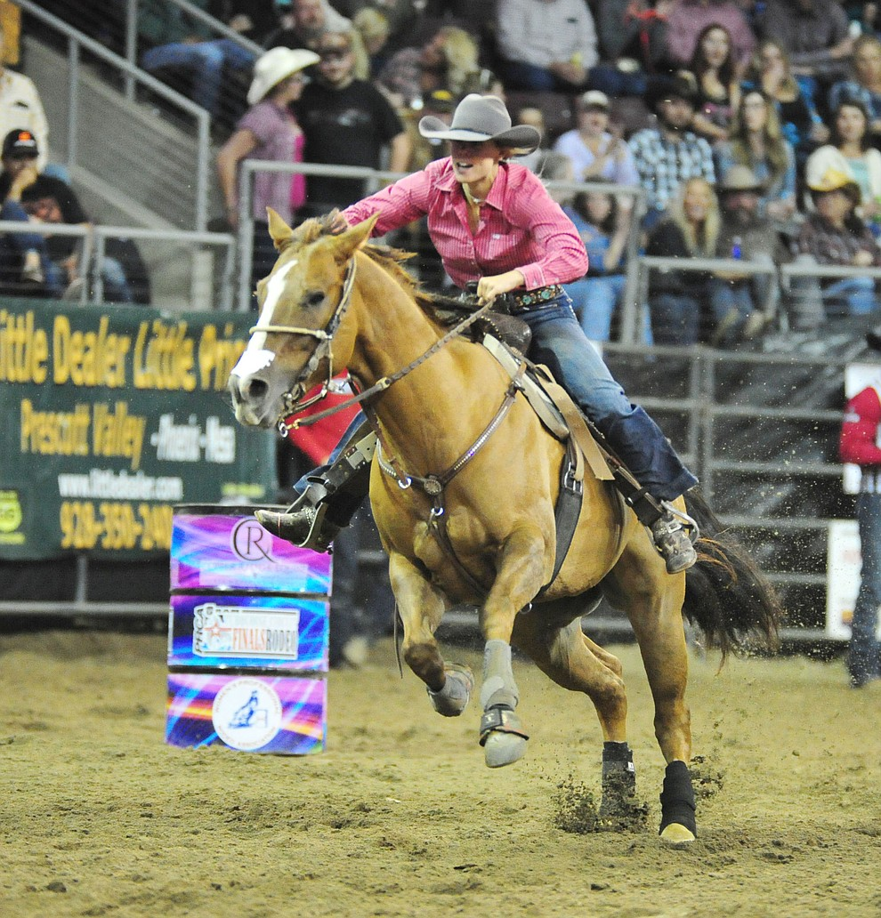 Tarryn Lee set an arena record of 15.18 in the barrel race at the Turquoise Circuit Finals Rodeo Saturday, Oct. 6, 2018 at the Prescott Valley Event Center. (Les Stukenberg/Courier)