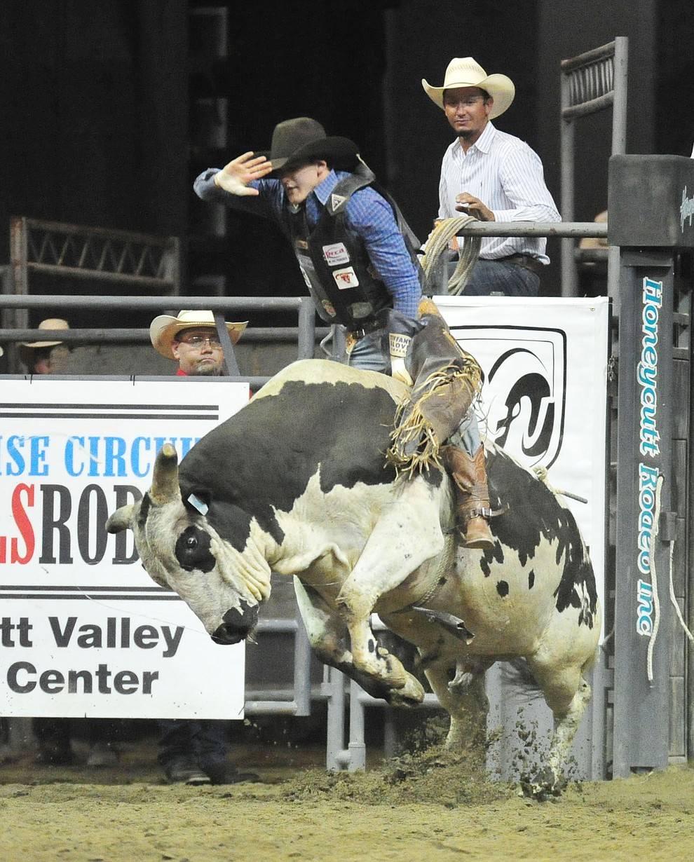 Joseph McConnell on Rio's Jagged Edge in the bull riding at the Turquoise Circuit Finals Rodeo Saturday, Oct. 6, 2018 at the Prescott Valley Event Center. (Les Stukenberg/Courier)
