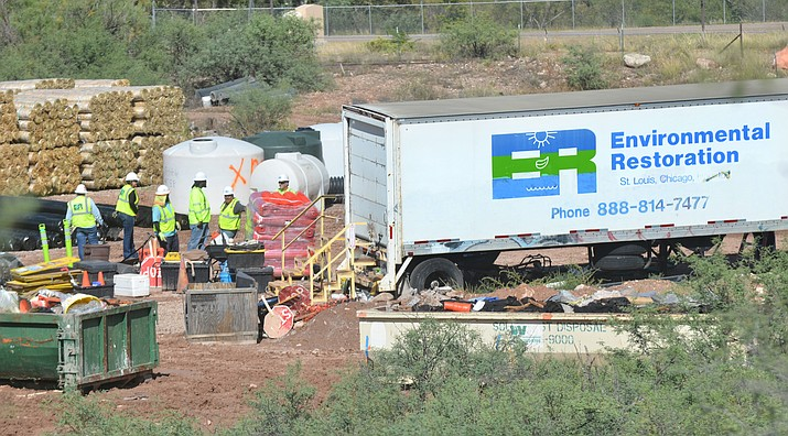 Environmental Restoration will be leaving Clarkdale's soil remediation project, explained Town Manager Gayle Mabery. A crew is at a workyard off Tuzigoot and Broadway roads on Wednesday. VVN/Vyto Starinskas