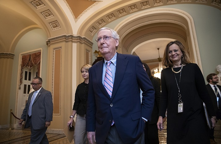 Senate Majority Leader Mitch McConnell, R-Ky., walks to the chamber for the final vote to confirm Supreme Court nominee Brett Kavanaugh, at the Capitol in Washington, Saturday, Oct. 6, 2018. (J. Scott Applewhite/AP)