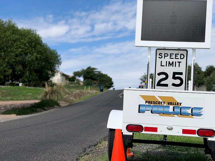 A Prescott Valley Police Department speed cart was set up on Manley Drive in August to help deter drivers from dangerously speeding through. (Brian M. Bergner Jr./Courier)
