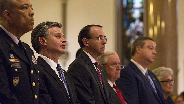 Deputy Attorney General Rod Rosenstein, middle, during the Blue Mass, held May 7, 2018 at St. Patrick's Catholic Church in Washington, D.C. Trump has said he has no plans for firing Rosenstein. (FBI photo)