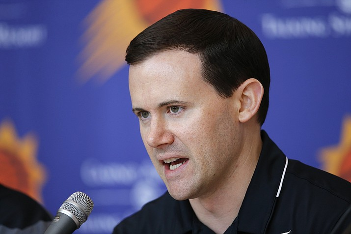 Ryan McDonough answers questions at a press conference June 22, 2018, in Phoenix. McDonough was fired by the Phoenix Suns on Tuesday, Oct. 8, 2018. Vice President of Basketball Operations James Jones will handle the general manager duties on an interim basis. (Ross D. Franklin/AP, file)