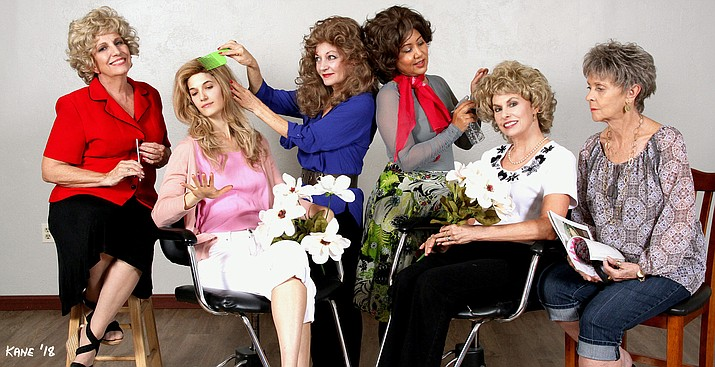 The cast of Steel Magnolias: (L-R) Mary Gladieux, Ashley Threlkeld seated, Terra Shelman, Tisha Taylor, Tricia Greer seated and Joan Westmoreland.