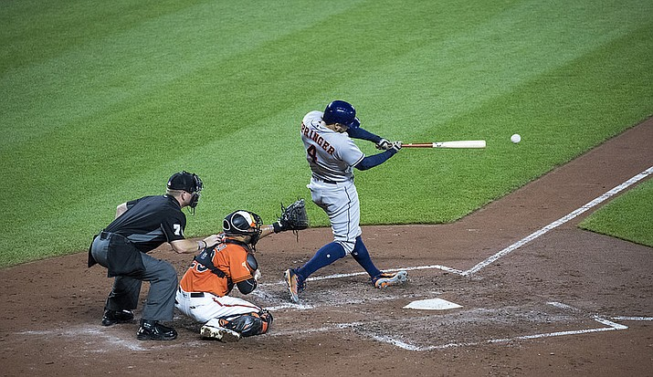 George Springer homered twice and the Houston Astros swept the Cleveland Indians in three straight games after an 11-2 clobbering Monday. (Keith Allison file photo,cc-by-sa-2.0, https://bit.ly/2CvJIdS)