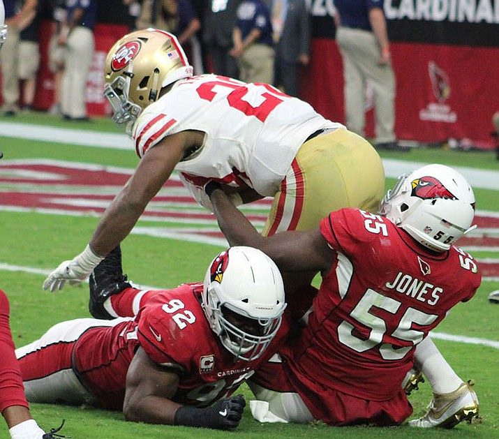 Arizona's Chandler Jones tallied six tackles, one sack and a fumble recovery Sunday against the 49ers. (Daily Miner file photo)