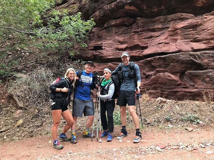 Sara Schulting-Kranz, Jesse Crandall, Shawn Cheshire and Scott Drum pause for a photo near Manzanita Flats before ascending the North Rim Oct. 7.  (Submitted photo)