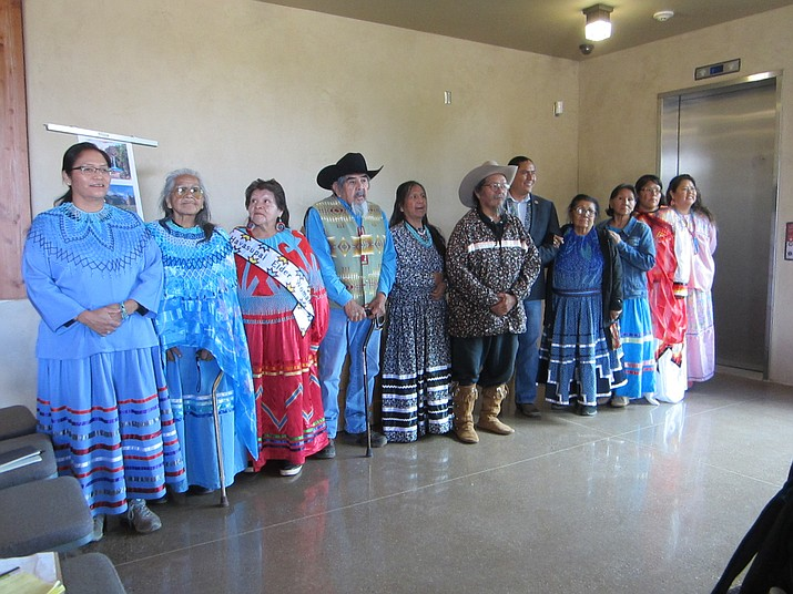 The Havasupai Tribal Council and elders held a press conference at the Museum of Northern Arizona Oct. 4 to discuss the Supreme Court's decision to uphold the mining ban around Grand Canyon, calling it a long-fought victory and the answer to many prayers of the Havasupai Tribe. (Katherine Locke/NHO)