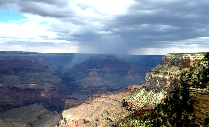 An autumnal storm unleashes rain on the Grand Canyon's inner gorge. Melissa Bowersock