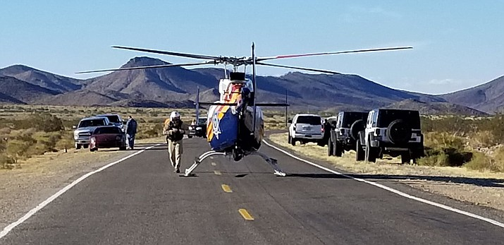 Department of Public Safety Ranger helicopter assisted Mohave County Sheriff's Office deputies and Search and Rescue in assisting a couple who became stranded Monday morning. (MCSO photo)