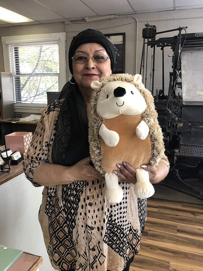 Virginia Quinn and Teresa Rodriguez are seeking $20 donations for each stuffed animal. Organizers hope to raise enough money to distribute the Hedgehogs to every child in attendance at the Williams Community Dinner Dec. 9. (Wendy Howell/WGCN)