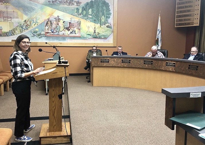 Tana Brown, president of Bike Prescott, told the Prescott City Council this week that the organization supports the proposed city ban on use of handheld electronic devices while driving. On Tuesday, Oct. 9, the council considered a ban, which, if approved, could go into effect by late 2018/early 2019. (Cindy Barks/Courier)
