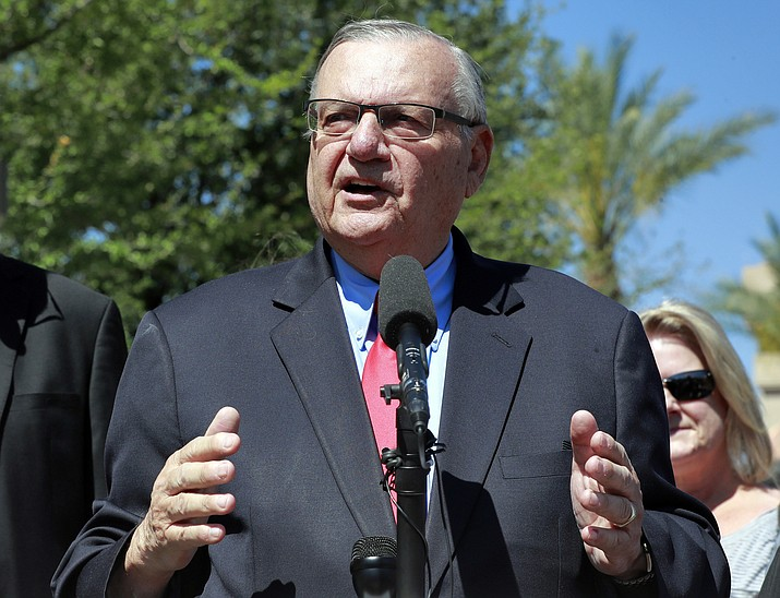 Former Maricopa County Sheriff Joe Arpaio speaks during a campaign event May 22, 2018, in Phoenix. (Matt York/AP file)
