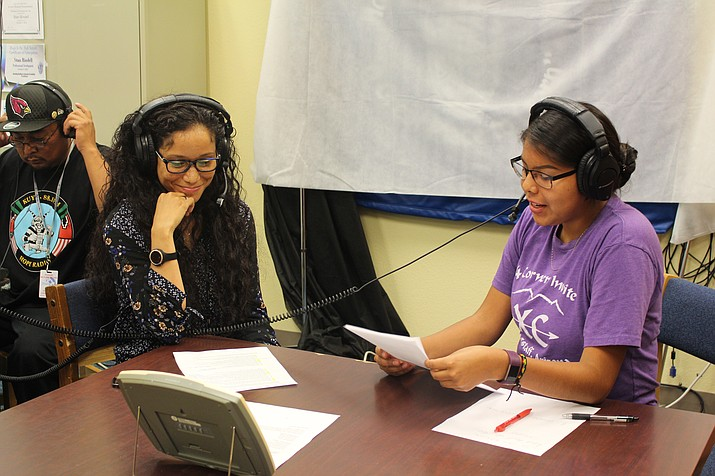 Aleemah Jones from Hopi Breast and Cervical Cancer Early Detection Program is interviewed by Lauryn Honwynewa (right) during the Hopi High Teen Show on KUYI. (Stan Bindell/NHO)