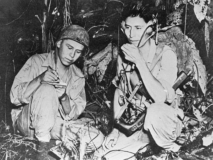 Navajo code talkers helped the United States win World War II by devising a secret code that the Japanese were unable to decipher. Sounds of Kingman will present a program on the code talkers at 2 p.m. Saturday at Mohave Museum of History and Arts. (PHOTO COURTESY OF SMITHSONIAN INSTITUTE)