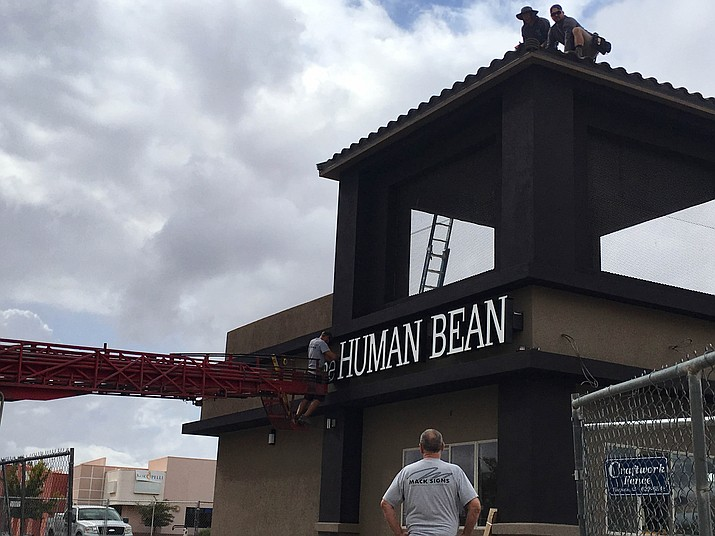 The Human Bean on the corner of Stockton Hill Road and Airfield Avenue now has its sign up. Looks like the coffee shop is getting near to opening. (Photo by Vanessa Espinoza/Daily Miner)