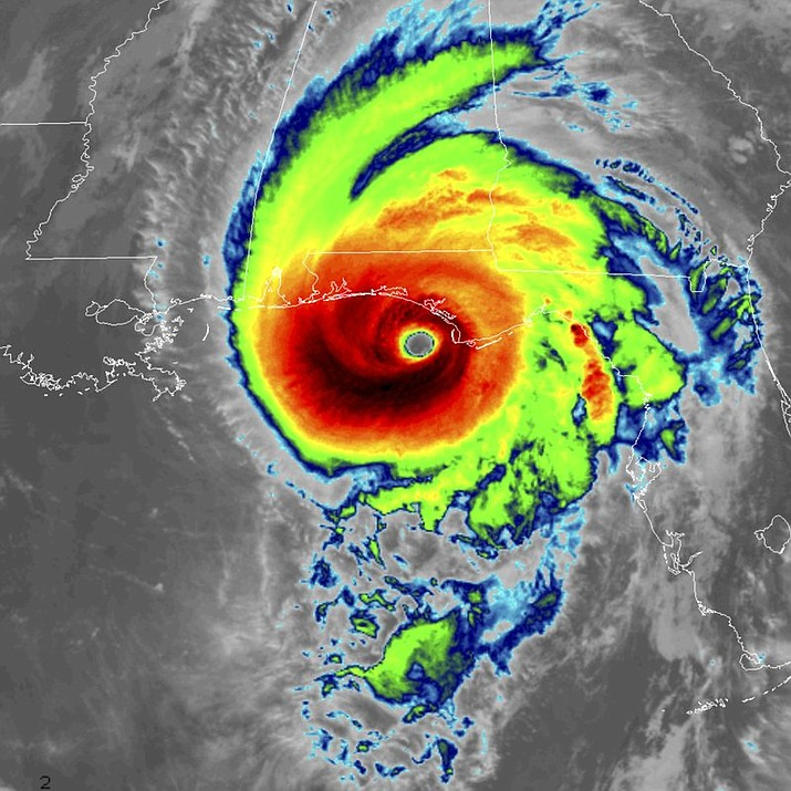 This infrared satellite image made available by NOAA shows Hurricane Michael approaching the Florida panhandle at 8:40 a.m. Wednesday, Oct. 10 (NOAA image)