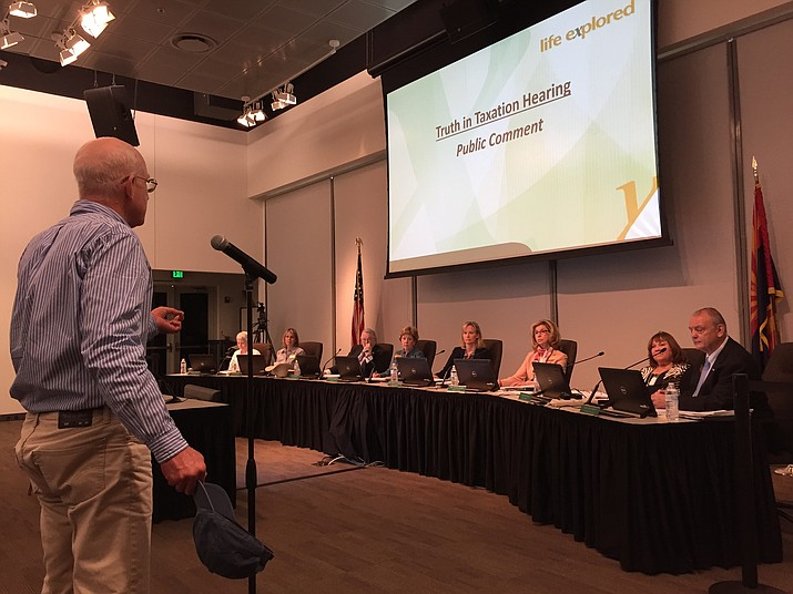 Retired area resident Kirk Storms addresses the Yavapai College District Governing Board meeting May 8, 2018, in Prescott. The board approved a payoff of the general obligation bonds owed by the college on Tuesday, Oct. 9, 2018. (Courier file photo)